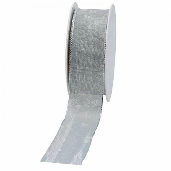 Geschenkband transparent 40mm 25Meter silber