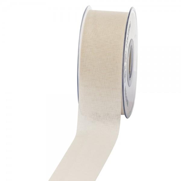 Geschenkband Leinenoptik 40mm 20Meter Creme