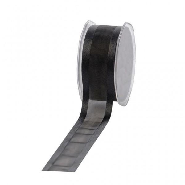 Geschenkband Chiffon Stripes 38mm/25Meter schwarz
