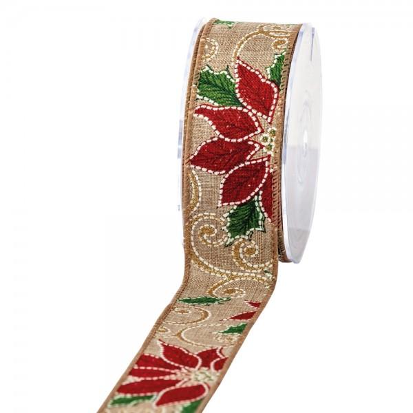 Geschenkband in Juteoptik Natur Weihnachtsstern 40mm 10m