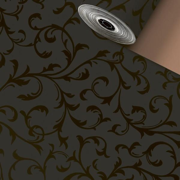 Geschenkpapier Rolle 50cm 250Meter Ornament schwarz