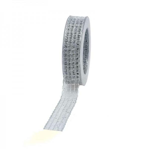 Geschenkband Gitter 25mm 20Meter silber