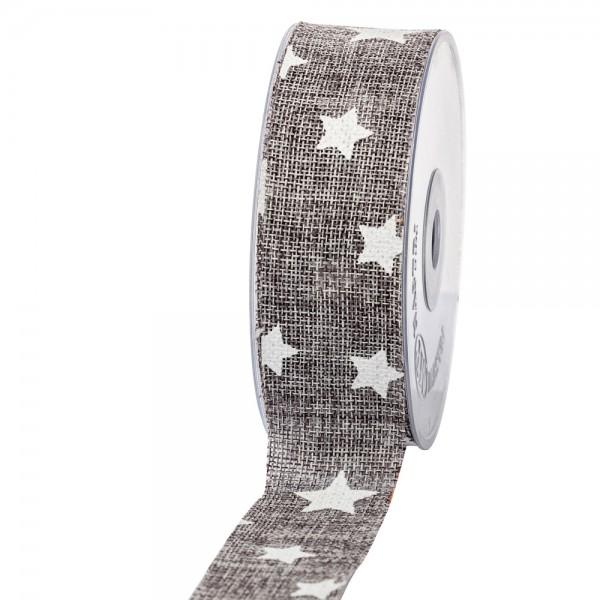 Geschenkband in Juteoptik Grau/Sterne weiß 40mm 20m