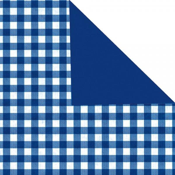 Geschenkpapier Rolle 50cm 50Meter Landhaus blau