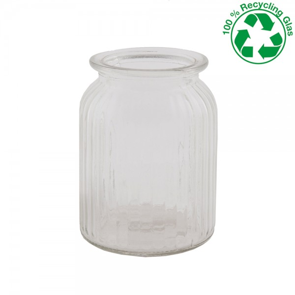 Glas Vase gerippt Höhe 14,5cm Ø 11cm