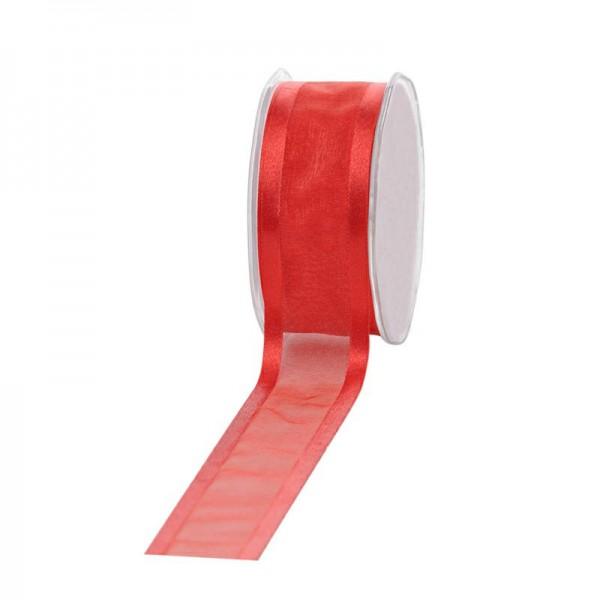Geschenkband Chiffon Stripes 38mm/25Meter rot