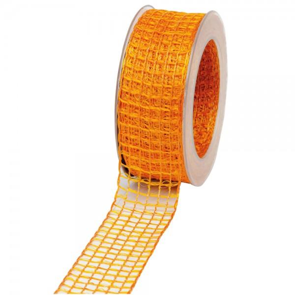 Geschenkband Gitter 40mm/20Meter orange