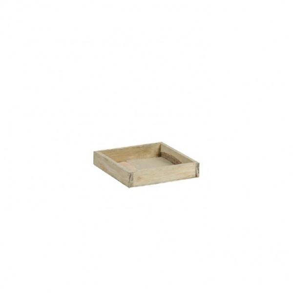 Holztablett 14x14x3 cm braun
