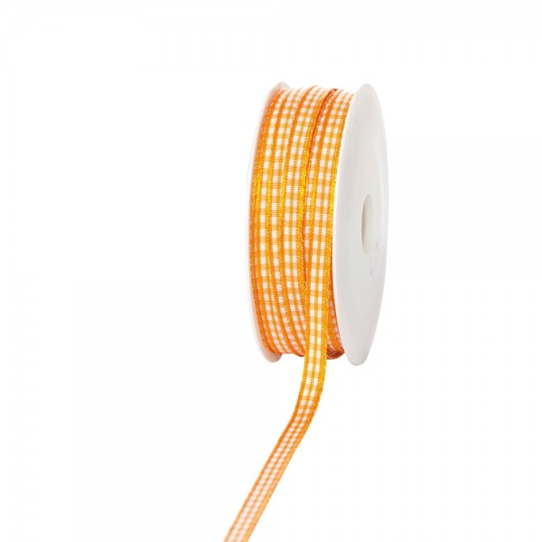 Geschenkband Landhaus kariert 6mm/25 Meter orange
