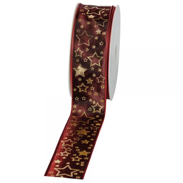 """Geschenkband """"Starlet"""" bordeaux/gold 40mm 25m"""