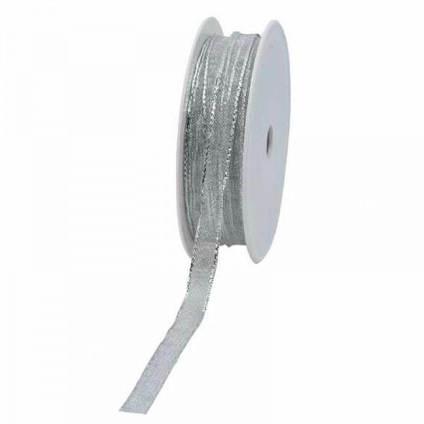 Geschenkband transparent 10mm 25Meter silber