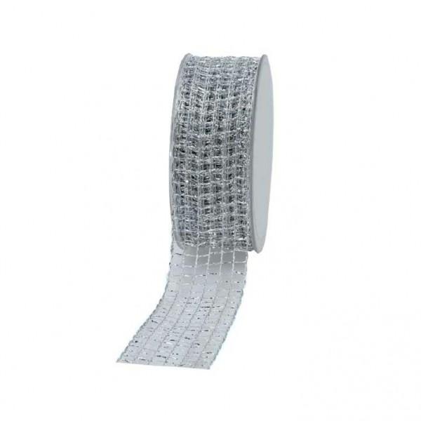 Geschenkband Gitter 40mm 20Meter silber
