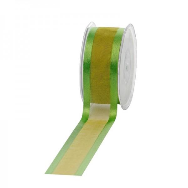 Geschenkband Chiffon Stripes 38mm/25Meter apfelgrün
