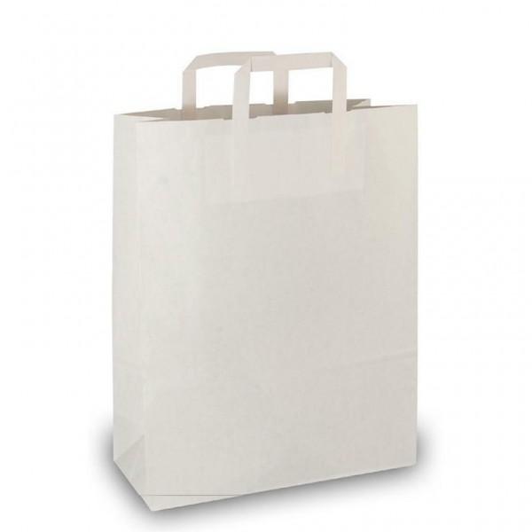 Papier Tragetaschen 32x12x41cm weiß Flachgriff