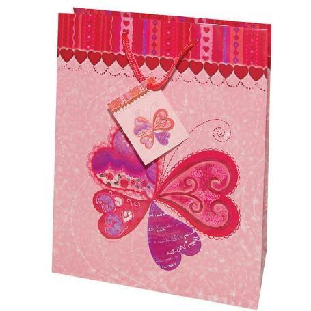 Tragetaschen 4 Herzen rosa 18x10x23 cm