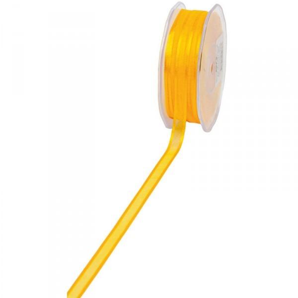 Geschenkband Chiffon Stripes 10mm/50Meter gelb