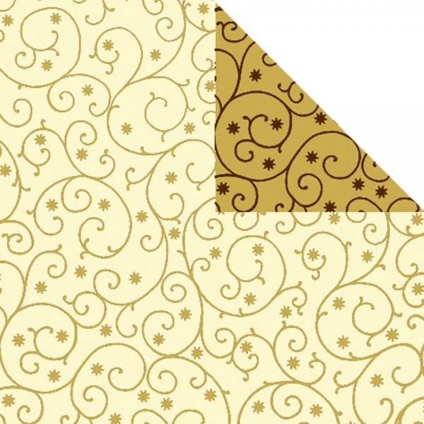 Geschenkpapier Rolle 50cm 250Meter creme/gold mit Dessin