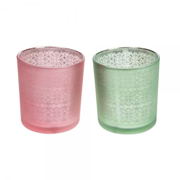 Windlichter aus Glas 7.3x7.3x8 cm grün/pink sortiert