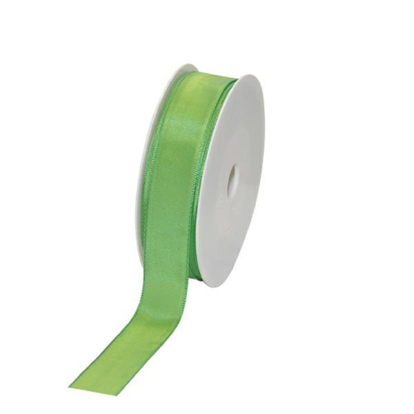 Geschenkband Stoff m. Draht 25mm/25Meter hellgrün