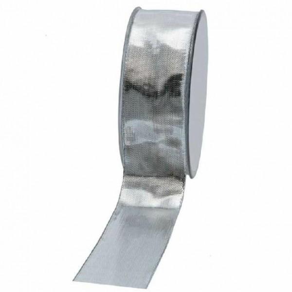 Geschenkband glänzend 40mm 25Meter silber