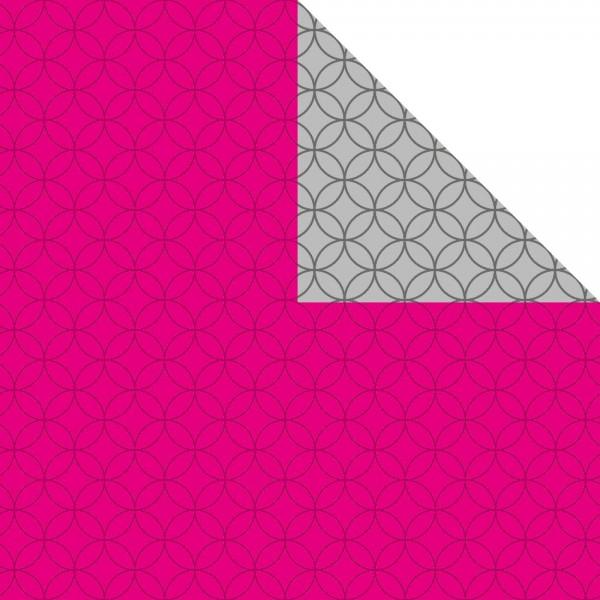 Geschenkpapier Rolle 50cm 250Meter pink/silber Circles