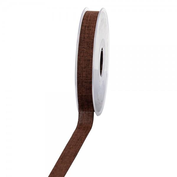 Geschenkband Leinenoptik 15mm 20Meter Braun