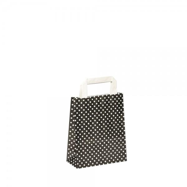 Papiertragetaschen Punkte 18x8x22cm schwarz