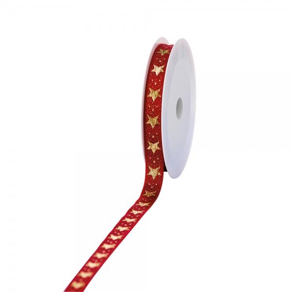 Geschenkband Lux Sterne rot/gold 15mm 20m