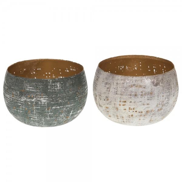 Kerzenhalter aus Metall sortiert weiß/grau Linna