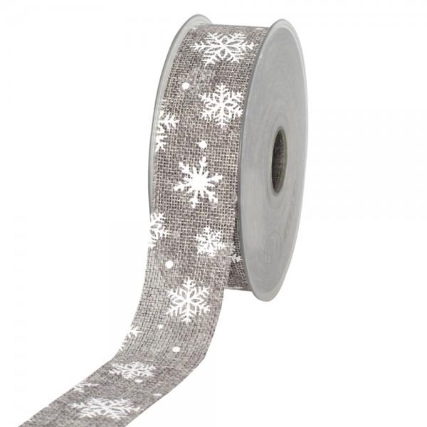 Geschenkband in Juteoptik Grau/Schneeflocke weiß 40mm 20m