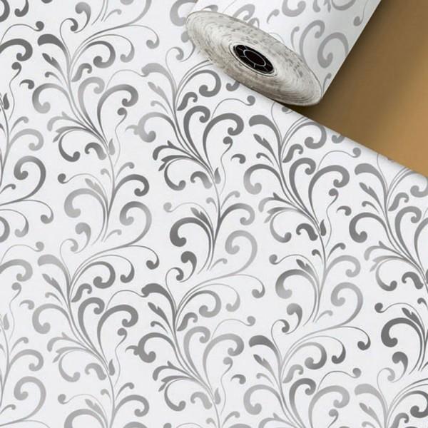 Geschenkpapier Rolle 50cm 250Meter Baroa weiß/silber