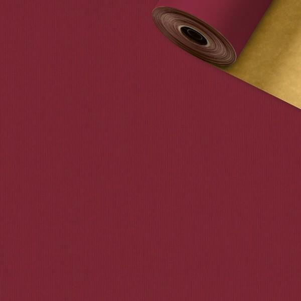 Geschenkpapier Rolle 50cm 50Meter 2-seitig bordeaux/gold