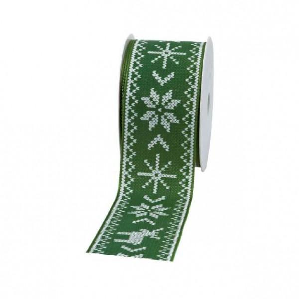 """Geschenkband """"Norwegen"""" grün 60mm 20m"""