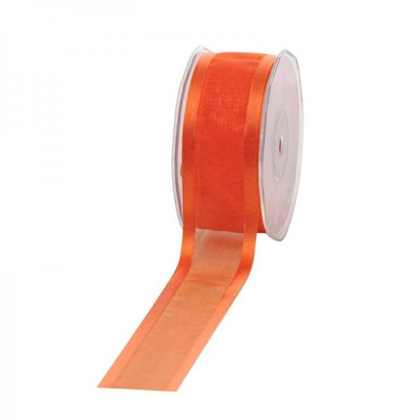 Geschenkband Chiffon Stripes 38mm/25Meter orange