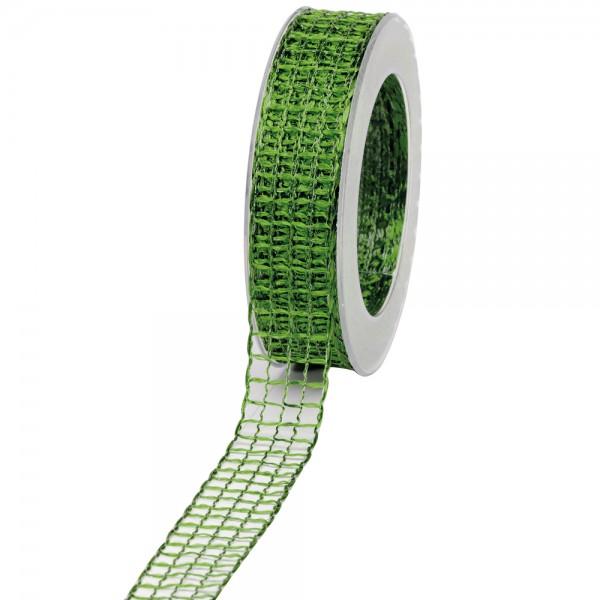 Geschenkband Gitter 25mm/20Meter moos