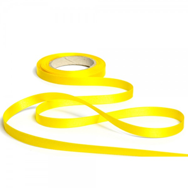 Geschenkband mit Druck 10mm breit 100 Meter sonnengelb