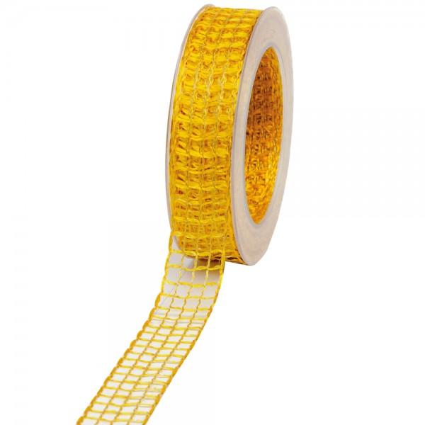 Geschenkband Gitter 25mm/20Meter gelb