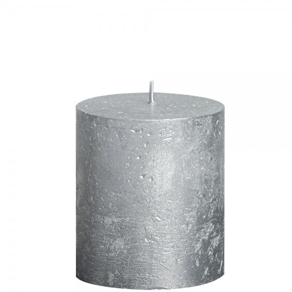 Stumpenkerze Rustik Metallic 8cm Ø 6,8cm Silber