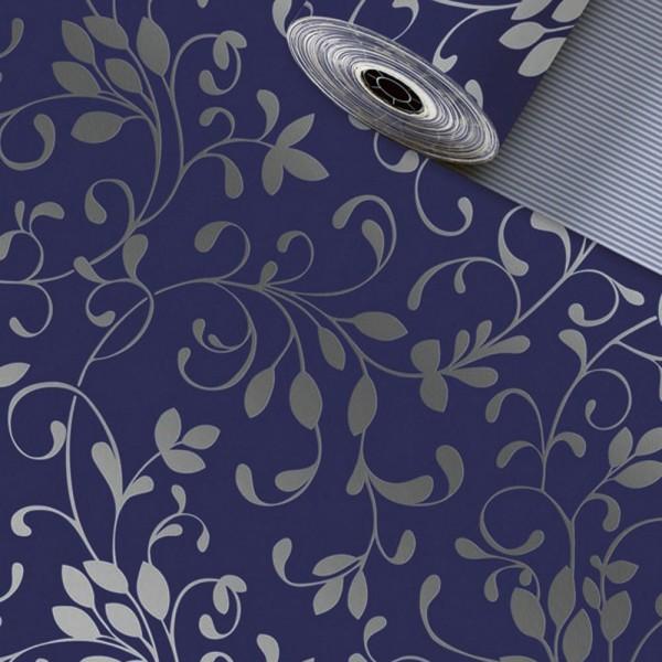 Geschenkpapier Rolle 50cm 250Meter Miron dunkelblau