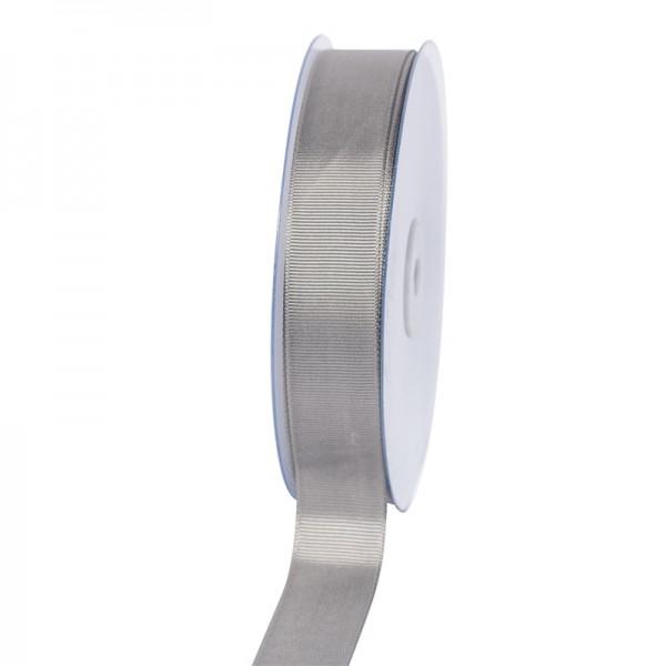 Geschenkband Grosgrain 25 mm/50Meter silber