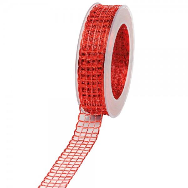 Geschenkband Gitter 25mm/20Meter rot