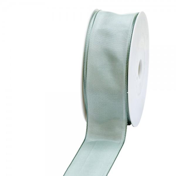 Geschenkband Stoff m. Draht 40mm/25Meter pastellgrün
