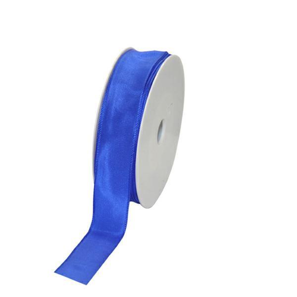 Geschenkband Stoff m. Draht 25mm/25Meter blau