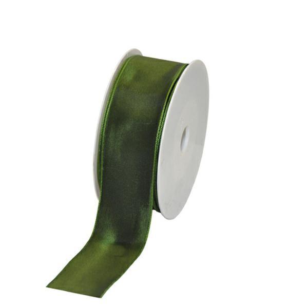 Geschenkband Stoff m. Draht 40mm/25Meter dunkelgrün