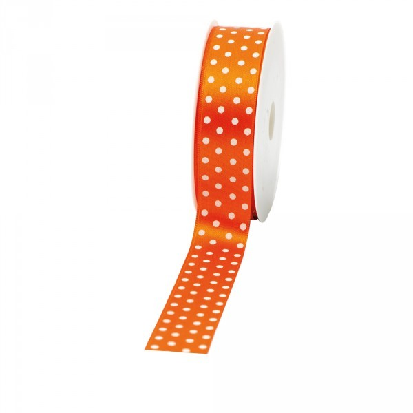 """Geschenkband """"Punkte"""" 25mm 20Meter orange"""