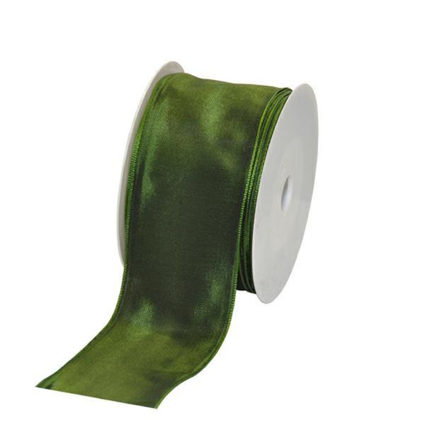 Geschenkband Stoff m. Draht 60mm/25Meter dunkelgrün