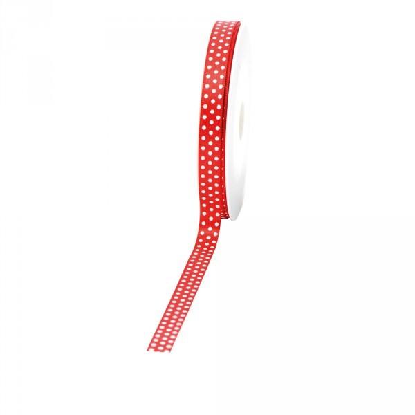 """Geschenkband """"Punkte"""" 10mm 25Meter rot"""