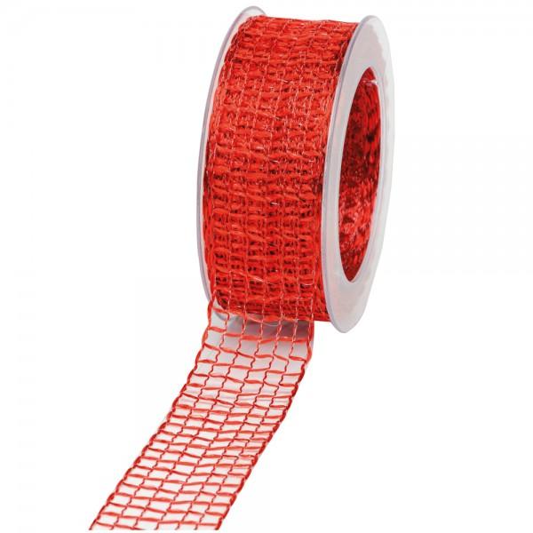 Geschenkband Gitter 40mm/20Meter rot