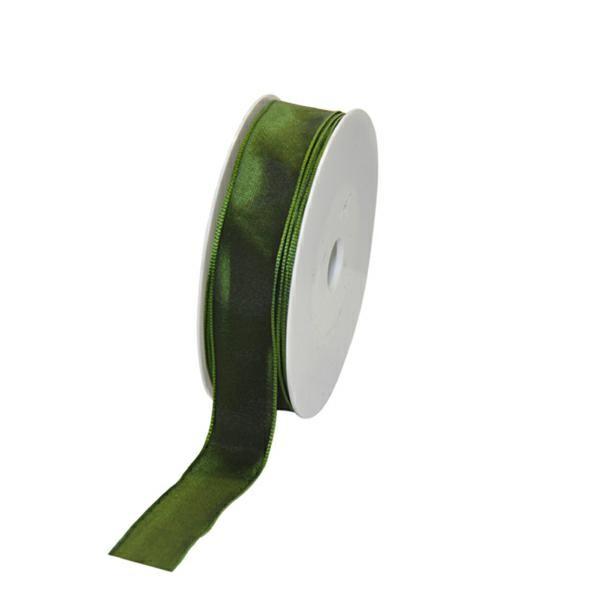 Geschenkband Stoff m. Draht 25mm/25Meter dunkelgrün