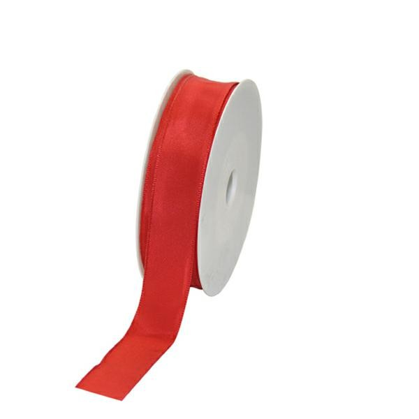 Geschenkband Stoff m. Draht 25mm/25Meter rot